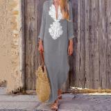 Fashionable Cotton/Line Casual V-Neck Yellow Maxi Dresses