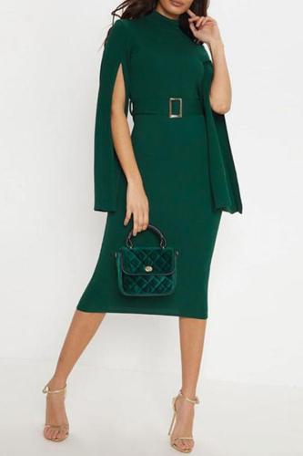 Elegant High-Waist Pure Colour Sleeve Slit Dresses