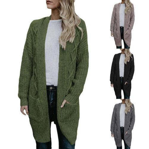 Fashion Long Sleeve Plain Pocket Cardigans