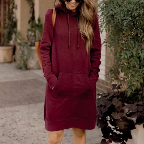Hooded  Kangaroo Pocket  Plain  Half Sleeve Casual Dresses