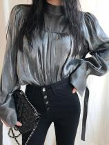 Fashion Stand Collar Slit Belted Long Sleeve Shirt