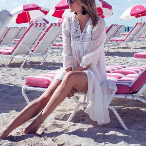 White Bikini Cover Ups Sunscreen Beach Vacation Dress