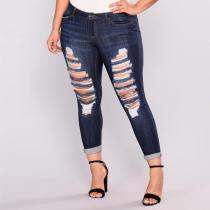 Plus Size Plain Hole Denim Jeans Women's Pants