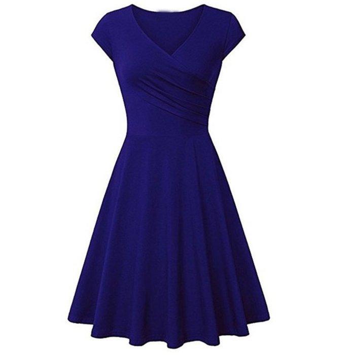 Short-Sleeved Solid Color Sexy V Collar Expansion Skater Dress