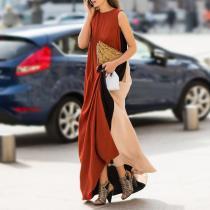 Cotton/Linen Fashion Patchwork Maxi Dress