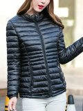 Band Collar Quilted Plain Padded Coat
