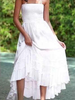 Fashion Sexy Off-Back Lace-Up Beach Maxi Dress