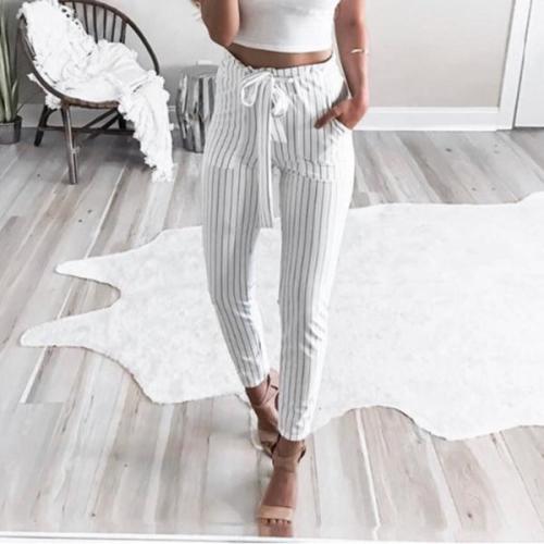 Slim Striped Beltcropped Pants