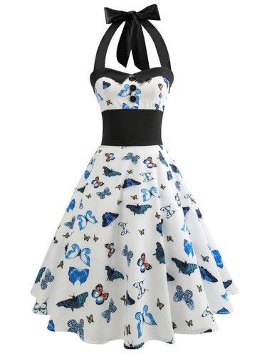 Lace-Up Printed Vintage Dresses