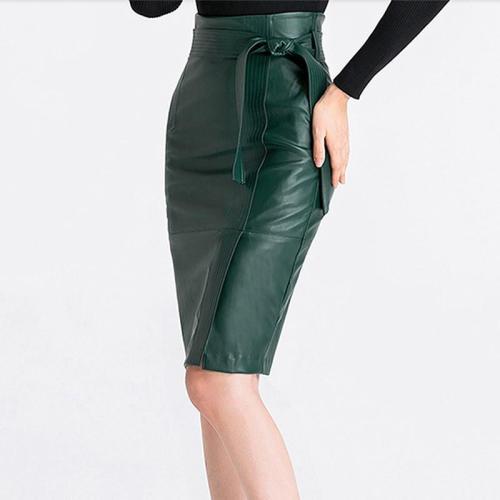 Plain Lace-up Belt PU Split Women's Skirt