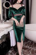 Sexy Off-Shoulder Slim Pure Colour Bodycon Dresses