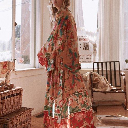 Bohemian Loose Flower Printing Cardigan Beachwear