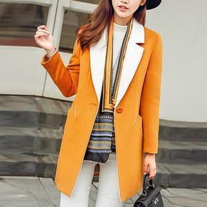 Lapel Pocket Single Button Woolen Coat