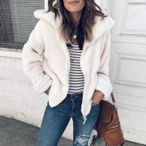 Fashion Lapel Long Sleeve Plain Zipper Casual Jackets