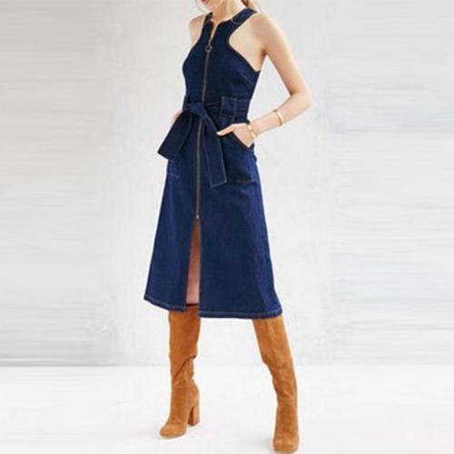 Denim Zipper Sleeveless Belt Casual Dress