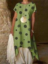 Fashion Polka Dot Short Sleeve Irregular Dresses