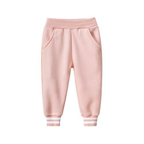 Unisex Kids Solid Elastic Waist Cotton Long Pants