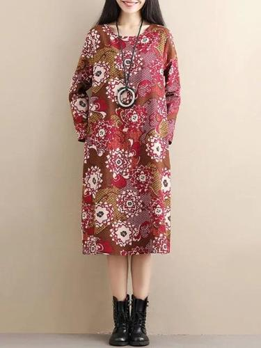 Women Daytime Cotton Long Sleeve Printed Floral Dress