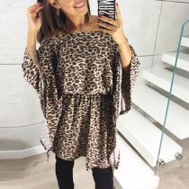 Sexy Off Shoulder Leopard Printed Flare Sleeve Casual Dress