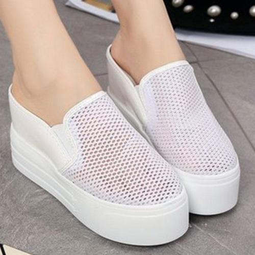 Hollow Round Toe Slip On Platform Sandals