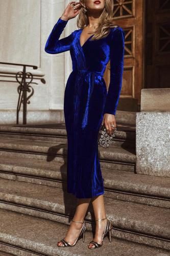Sexy Fashion V Collar Long Sleeves Pleuche Slim Plain Dress