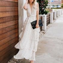 Elegant V Neck Polka Dot Sleeveless Maxi Dresses