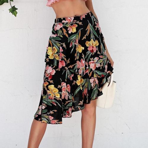 Floral Asymmetric Print Cacual Women Skirt