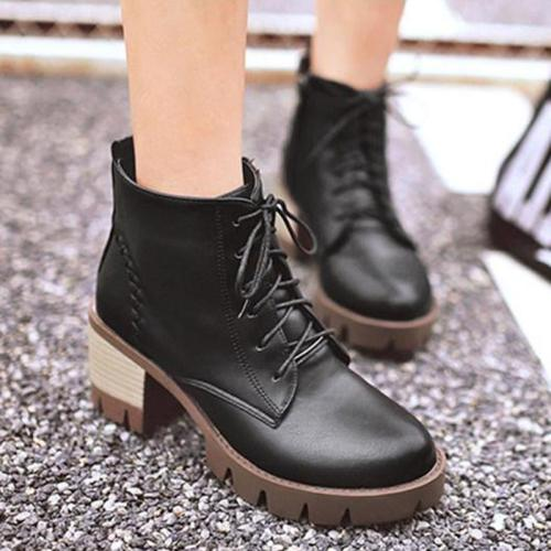Plain Chunky Mid Heeled Round Toe Casual Date High Heels Boots
