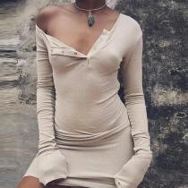 Sexy Button Neck Long Sleeve Plain Bodycon Dress