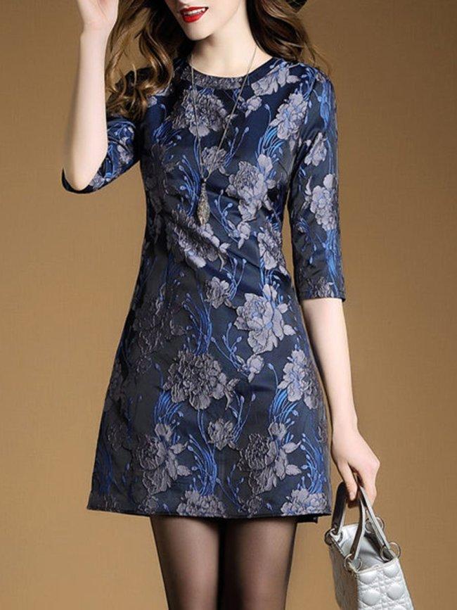 Elegant Round Neck Floral Shift Dress