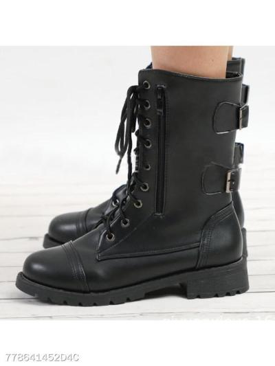 Plain Chunky Low Heeled Criss Cross Round Toe Date Outdoor Flat Boots