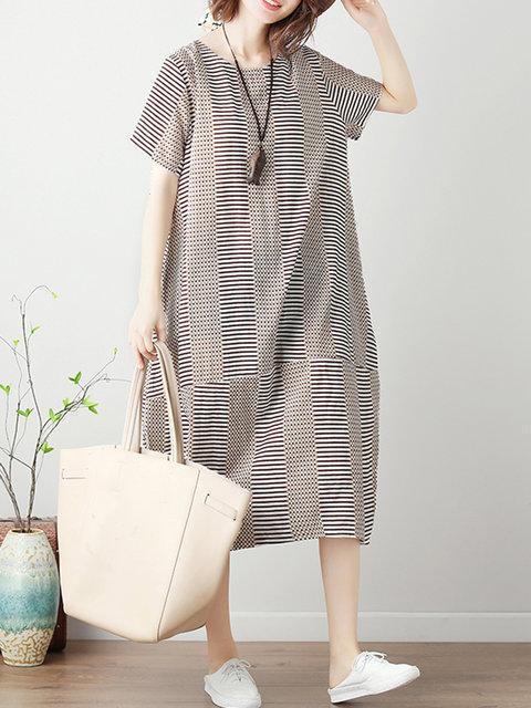 Women Shift Daytime Short Sleeve Paneled Dress