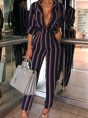 Fashion Print Striped Long-Sleeved Women's Jumpsuits