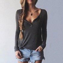 Women V-Neck Long Sleeve Casual Sweater