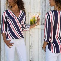 Fashion Stripe Lapel Floral Printed Blouses