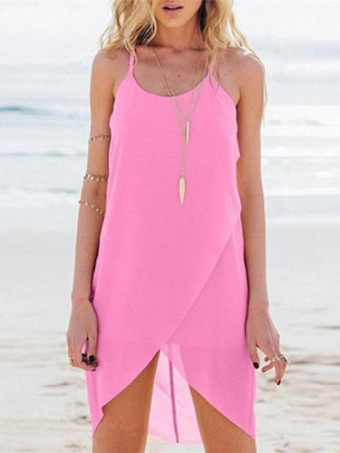 Summer Plain Shoulder Straps Irregularity Casual Dresses