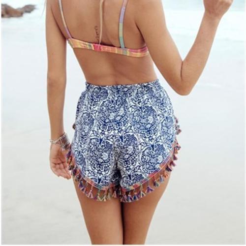 Bohemian Printed Tassel Casual Shorts