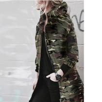 Hooded Zipper Camouflage Outerwear