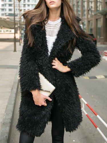 Shaggy Lapel Plain Faux Fur Coat