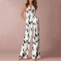 Halter Pocket Plain Floral Print Wide-Leg Jumpsuit