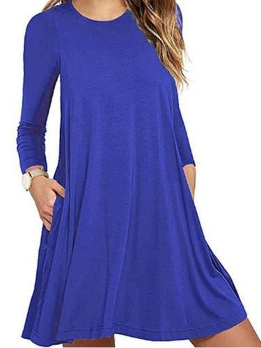 Round Neck Long Sleeve Plain Skater Dress