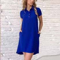Turn Down Collar  Asymmetric Hem  Plain  Short Sleeve Casual Dresses