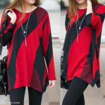 Long Loose Geometric Pattern Sweatshirt