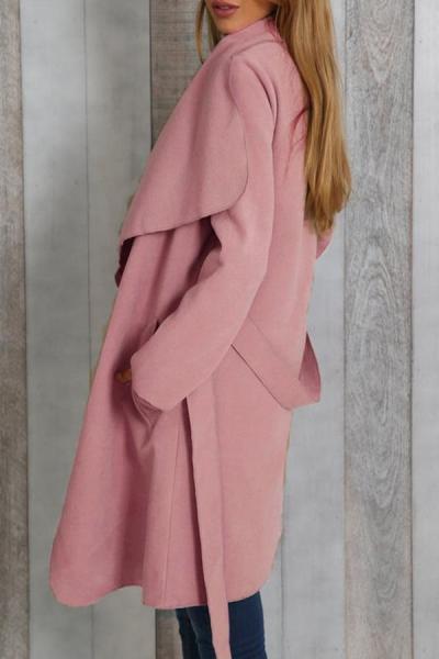 Lapel Snap Front Belt Plain Coats