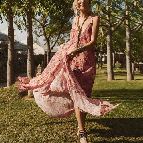 Elegant Sexy Floral Print Maxi Dress