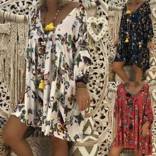 V Neck Floral Printed Long Sleeve Loose Casual Dress
