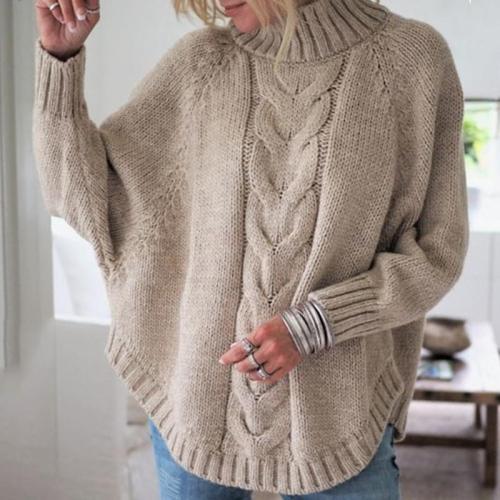 Little High-Necked Bat Sleeve Sweater