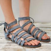 Plain Flat Velvet Criss Cross Peep Toe Casual Flat Sandals