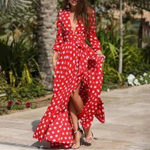 Stylish Half Sleeves Red Wave Point Maxi Dress