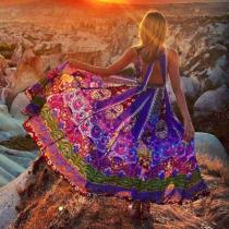 Printed Sleeves Backless Big Hemline Bohemia Maxi Dress